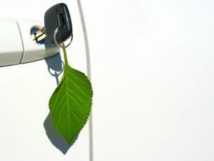 Environmentally friendly automobile with leaf key ring hanging from door.